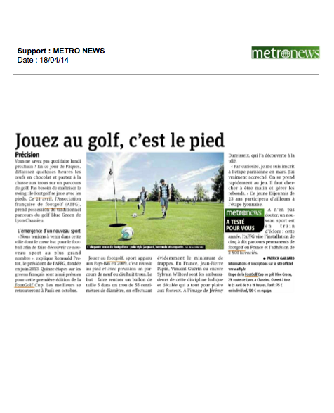 metro newsfootgolf